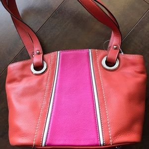 TIGNANELLO Pink/Orange Leather Handbag  Ret $199